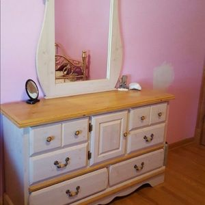 Desk vanity night table and bed frame all one set